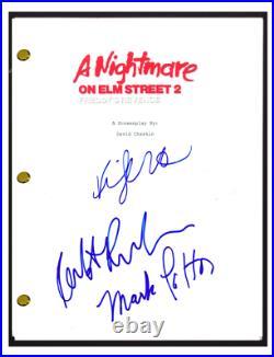 A Nightmare on Elm Street 2 Cast Signed Script Mark Patton Kim Myers Rusler COA