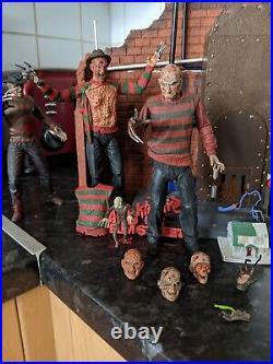 Neca horror figures bundle and custom dioramra nightmare on elm street