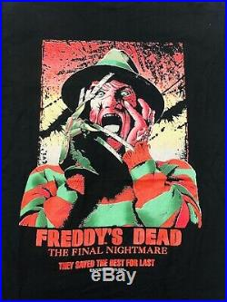 Rare! Vtg Nightmare On Elm Street Freddy Krueger Freddys Dead Tshirt Size L