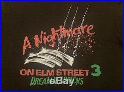 Vtg NIGHTMARE ON ELM STREET t shirt horror movie promo freddy krueger halloween